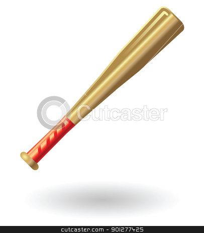 baseball bat Illustration stock vector clipart, Illustration of a baseball bat by Christos Georghiou
