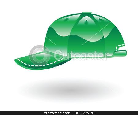 baseball cap Illustration stock vector clipart, Illustration of green baseball cap by Christos Georghiou
