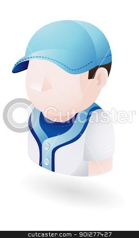 baseball player illustration stock vector clipart, Illustration of baseball player by Christos Georghiou