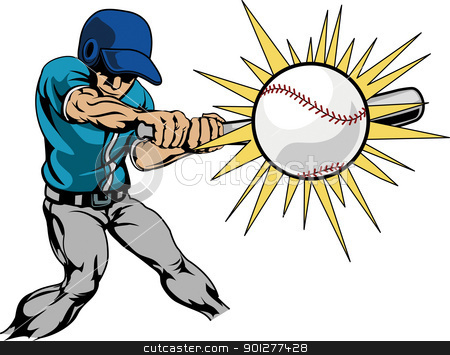 Illustration of baseball player hitting baseball stock vector clipart, Illustration of baseball player swinging bat to hit baseball  by Christos Georghiou