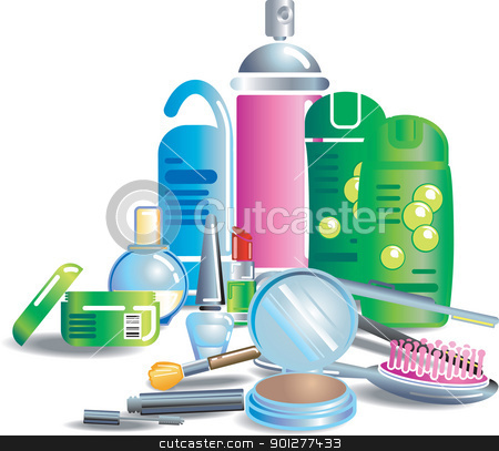 beauty cosmetic products Illustration stock vector clipart, Illustration of cosmetics and other bathroom stuff. Each item or set on separate layer. No meshes used.  by Christos Georghiou