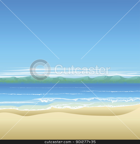 Tropical beach background illustration stock vector clipart, Tropical beach background illustration with land in distance and lots of copyspace. by Christos Georghiou