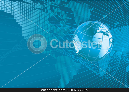 world map globe background stock vector clipart, A dynamic 3d world map with background.  by Christos Georghiou