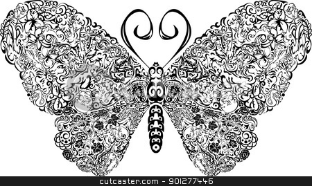 butterfly design stock vector clipart, A butterfly with patterns complex patterns on its wings  by Christos Georghiou