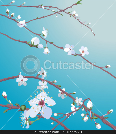 blossom background stock vector clipart, Beautiful blossom flowers on a tree. No meshes used.  by Christos Georghiou
