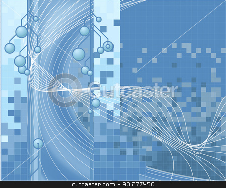 techno background stock vector clipart, A blue vector corporate style technology background  by Christos Georghiou