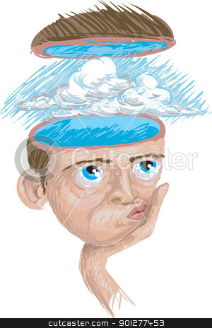 bluesky thinking stock vector clipart, A conceptual illustration blue sky thinking  by Christos Georghiou