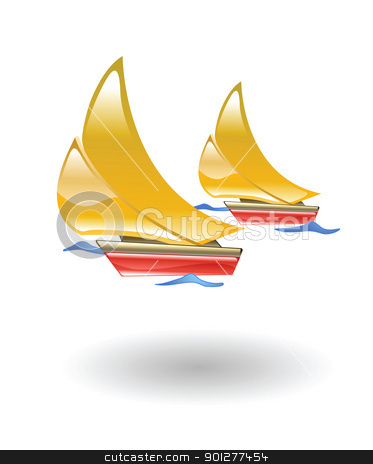 boats  illustration stock vector clipart, Illustration of two sailboats by Christos Georghiou