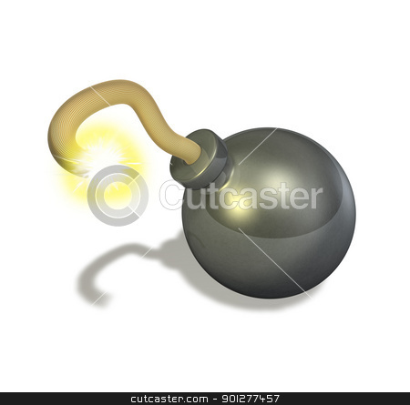3d render bomb  stock photo, 3d render illustration of a bomb with a lit fuse  by Christos Georghiou