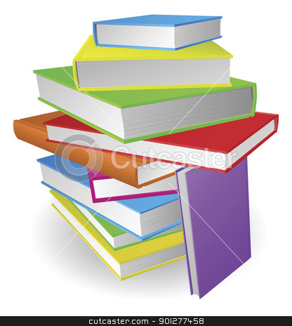 Big stack of books illustration stock vector clipart, An illustration of a large pile of colourful books by Christos Georghiou