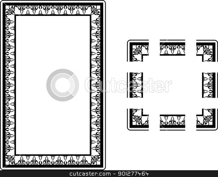 Art Nouveau borders stock vector clipart, A Vector illustration of an Art Nouveau Style border frame; comes with seamlessly tillable component parts so you can make a frame to any size or aspect ratio.  by Christos Georghiou