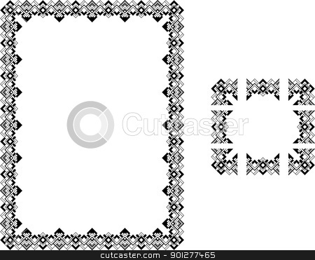 Art Deco borders stock vector clipart, A Vector illustration of a Art Deco Style border frame; comes with seamlessly tillable component parts so you can make a frame to any size or aspect ratio.  by Christos Georghiou