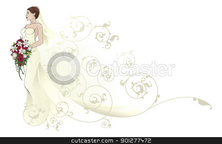 Gold Dress on Bride Beautiful Wedding Dress Pattern Background Stock Vector Clipart