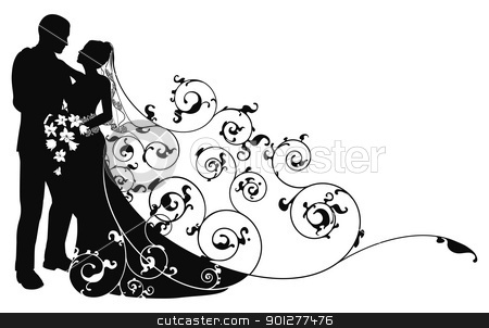 Bride and groom background pattern silhouette stock vector clipart, Bride and groom looking into each others eyes abstract background pattern silhouette by Christos Georghiou
