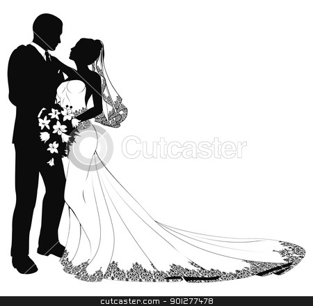 Bride and groom silhouette stock vector clipart A bride and groom on their