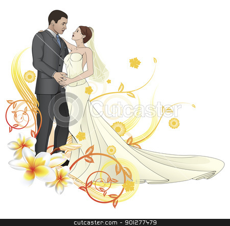 Bride and groom dancing floral background stock vector clipart, Bride and groom looking into each others eyes dancing abstract floral background by Christos Georghiou
