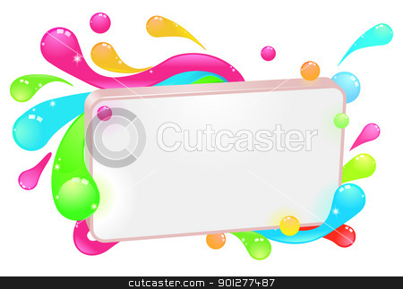 Modern funky colorful sign stock vector clipart, A modern funky colorful sign with swirls and droplets round the frame. by Christos Georghiou