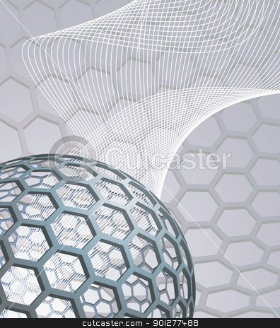 abstract background with buckyball stock vector clipart, illustration background with buckyball or buckminsterfullerene and abstract mesh wave graphic by Christos Georghiou