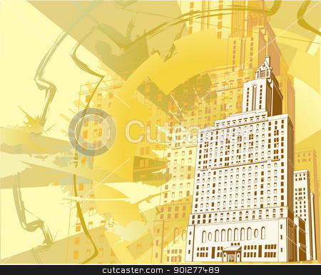 urban building background stock vector clipart, An illustration of a funky grungy urban building background by Christos Georghiou
