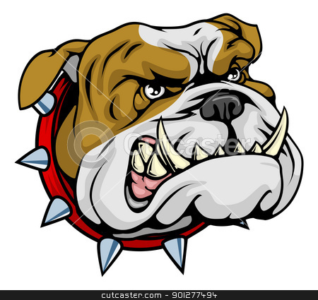 Mean bulldog mascot illustration stock vector clipart, Mean looking illustration of classic British bulldog face by Christos Georghiou