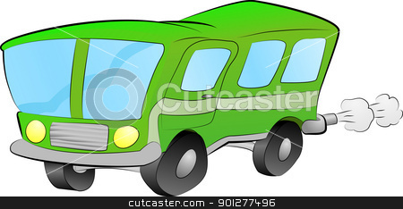 bus or coach illustration stock vector clipart, An illustration of a funky green bus  by Christos Georghiou