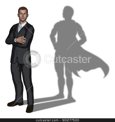 Businessman superhero concept  stock vector clipart, Illustration of confident handsome young businessman standing with arms folded with superhero shadow concept by Christos Georghiou
