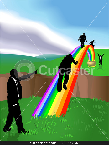 rainbow  business concept illustration stock vector clipart, Conceptual piece. Business people striving to reach a Pot of Gold at the end of the Rainbow. No meshes used. On separate layers for easy editing.  by Christos Georghiou