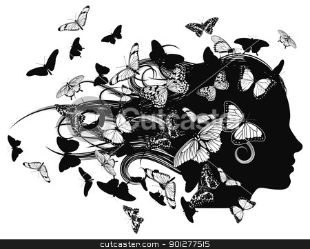 Beautiful woman with butterfly hair stock vector clipart, A beautiful woman with hair made up of or covered with butterflies. by Christos Georghiou