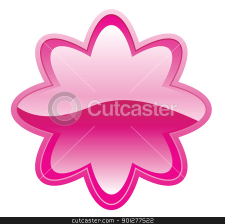 button illustration stock vector clipart, Illustration of a shiny pink flower-shaped button by Christos Georghiou