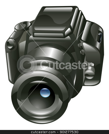 Shiny digital camera illustration stock vector clipart, A stylised shiny digital camera illustration or icon.  by Christos Georghiou