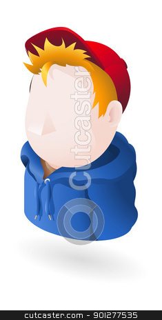 hoody illustration stock vector clipart, Illustration of a person wearing cap and hoodie by Christos Georghiou