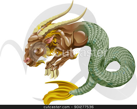 Capricorn the sea goat star sign stock vector clipart, Illustration representing Capricorn the sea goat star or birth sign. Includes the symbol or icon in the background by Christos Georghiou