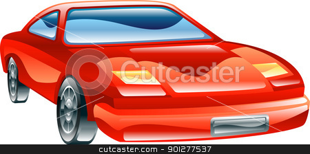 Glossy stylised sports car icon stock vector clipart, A glossy stylised red sports car icon  by Christos Georghiou
