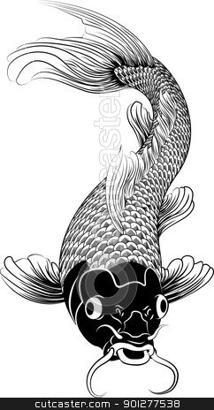Kohaku koi carp fish illustration stock vector clipart, Beautiful black and white vector illustration of a Japanese or Chinese inspired koi carp fish by Christos Georghiou