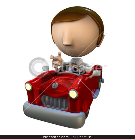 3d business man character in a red car stock photo, 3d business man character driving in a red car by Christos Georghiou