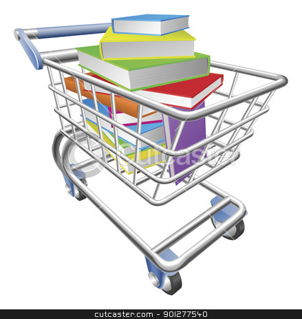 Shopping trolley cart full of books concept stock vector clipart, An illustration of a shopping cart trolley full of books by Christos Georghiou