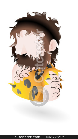 caveman icon stock vector clipart, Illustration of a caveman by Christos Georghiou