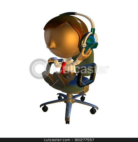 3d business man character sitting in a chair with headphones stock photo, 3d business man character sitting in an office chair with headphones listening  by Christos Georghiou
