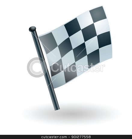 checked checkered flag stock vector clipart, Illustration of black and white checkered flag by Christos Georghiou