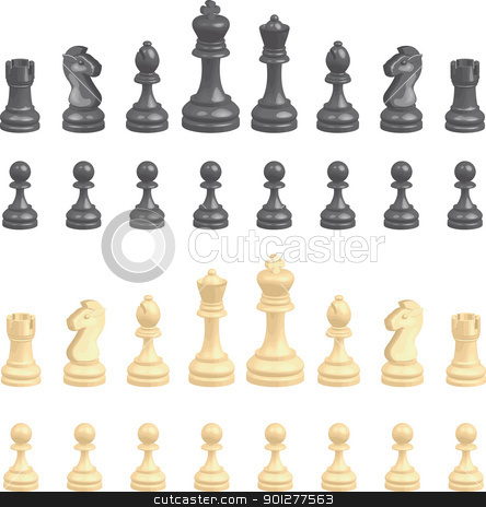 chess pieces stock vector clipart, A complete set of chess pieces. No meshes used.  by Christos Georghiou