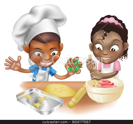 two children having fun in the kitchen stock vector clipart, An illustration of two children having fun in the kitchen by Christos Georghiou