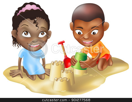two children playing on the beach stock vector clipart, An illustration of two black ethnic chidlren playing on the sand by Christos Georghiou