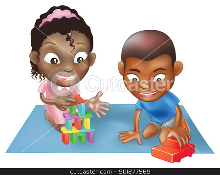 two children playing stock vector clipart, An illustration of two black ethnic chidlren playing with toys on a play mat by Christos Georghiou