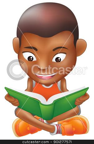 boy reading a book stock vector clipart, Illustration of a black boy reading a book by Christos Georghiou