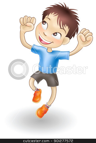 Young boy jumping for joy stock vector clipart, An illustration of a young Caucasian boy jumping for joy by Christos Georghiou