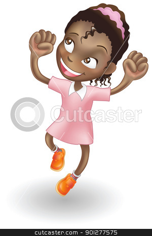 Young girl jumping for joy stock vector clipart, An illustration of a young black girl jumping for joy by Christos Georghiou