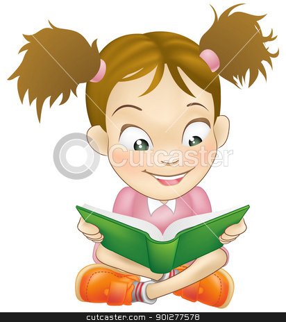 Illustration young girl reading book stock vector clipart, Illustration of a young sweet girl child happily reading a book by Christos Georghiou