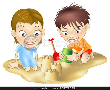 two children playing in the sand stock vector clipart, A illustration of two children playing in the sand, making sandcastles by Christos Georghiou