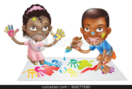 two children playing with paint stock vector clipart, illustration of two ethnic children playing with paints on a play-mat by Christos Georghiou