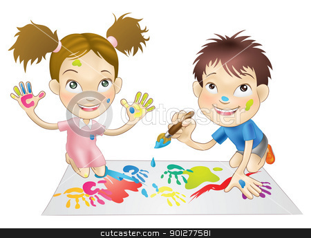 two young children playing with paints stock vector clipart, illustration of two young children playing with paints by Christos Georghiou
